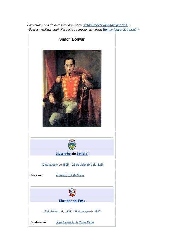 Para otros usos de este término, véase Simón Bolívar (desambiguación).«Bolívar» redirige aquí. Para otras acepciones, véas...