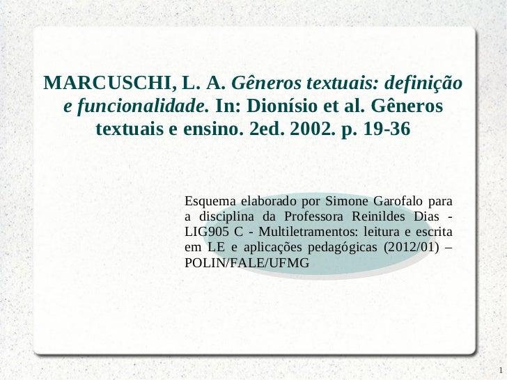 MARCUSCHI, L. A. Gêneros textuais: definição e funcionalidade. In: Dionísio et al. Gêneros     textuais e ensino. 2ed. 200...
