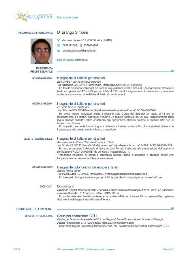 Simone Di Brango Curriculum Vitae