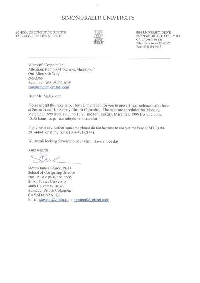 Simon Fraser University invitation letter to speak