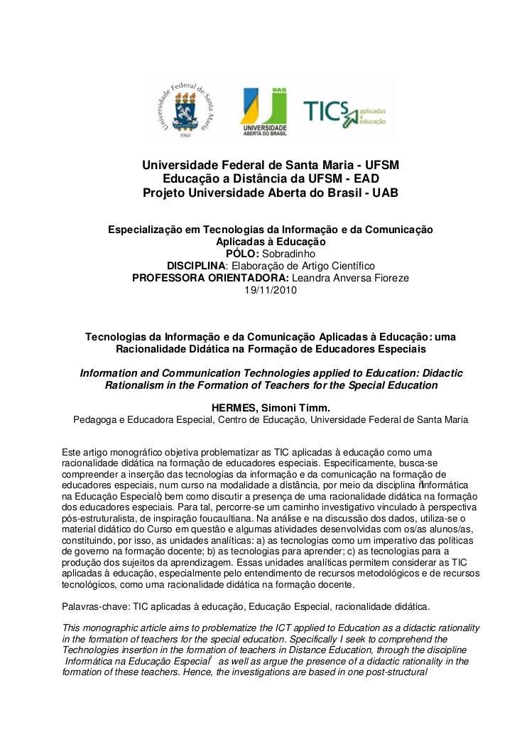 Universidade Federal de Santa Maria - UFSM                      Educação a Distância da UFSM - EAD                   Proje...