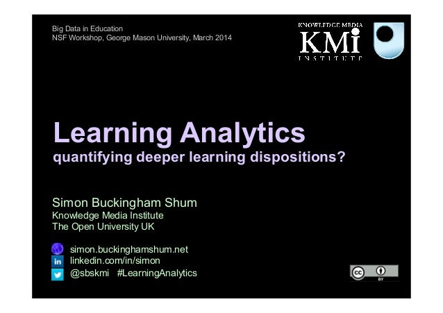 Learning Analytics quantifying deeper learning dispositions? Simon Buckingham Shum Knowledge Media Institute The Open Univ...