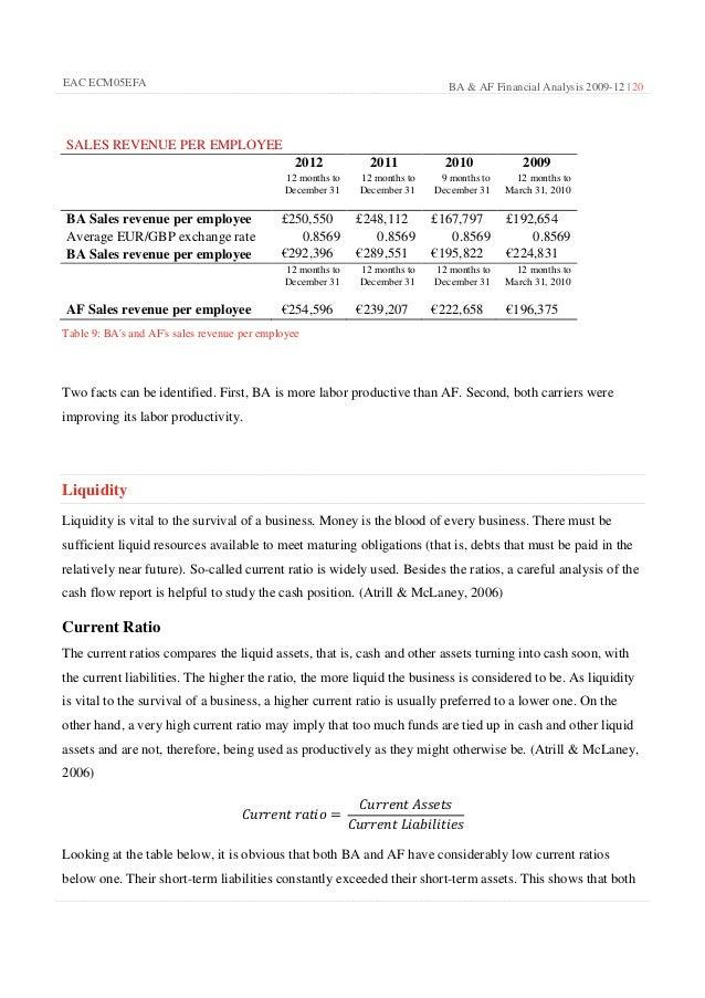 Financial statement analysis of british airways and emirates