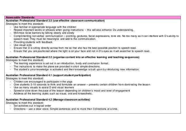 Assessable Standards: Australian Professional Standard 3.5 (use effective classroom communication) Strategies to meet this...