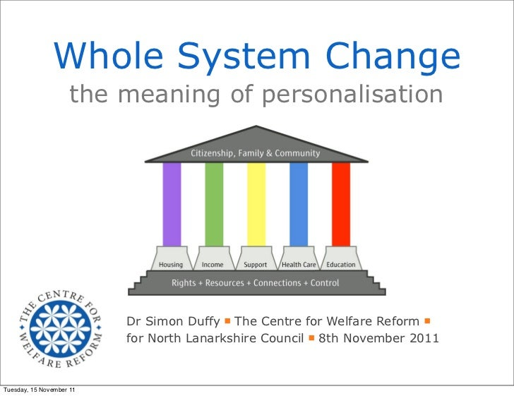 Whole System Change                    the meaning of personalisation                          Dr Simon Duffy The Centre f...