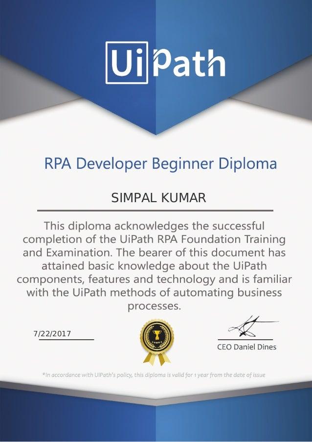 Simpal Kumar UI Path - RPA Developer Beginner Diploma