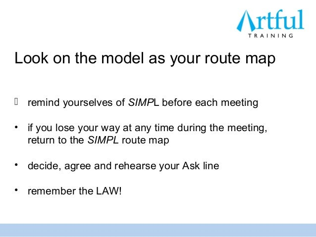 Look on the model as your route map remind yourselves of SIMPL before each meeting• if you lose your way at any time duri...