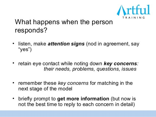 """What happens when the person responds?• listen, make attention signs (nod in agreement, say  """"yes"""")• retain eye contact wh..."""