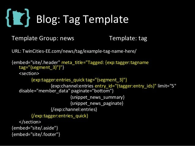 """Blog: Tag Template Template Group: news Template: tag URL: TwinCities-EE.com/news/tag/example-tag-name-here/ {embed=""""site/..."""