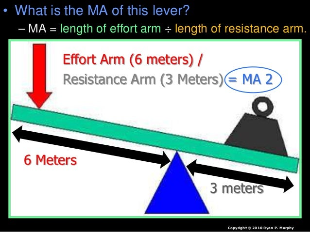 • What is the MA of this lever? – MA = length of effort arm ÷ length of resistance arm. Copyright © 2010 Ryan P. Murphy 6 ...