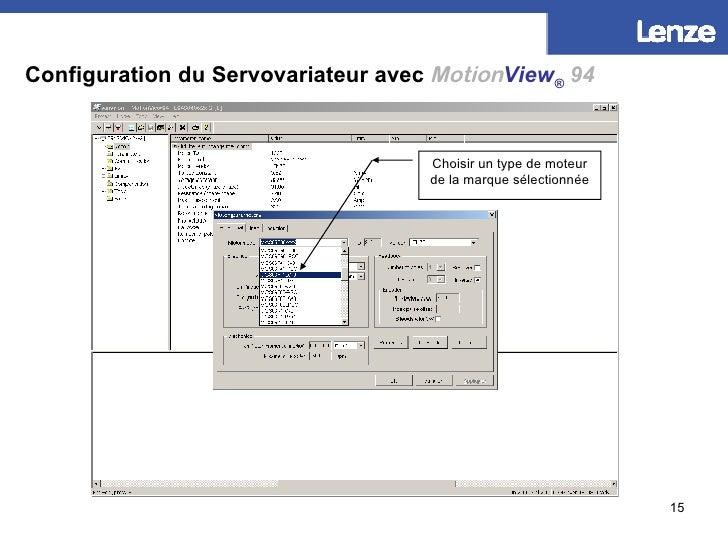 Configuration du Servovariateur avec   Motion View ®   94 Choisir un type de moteur de la marque sélectionnée