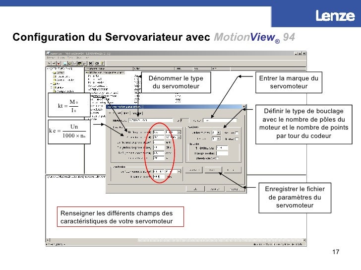 Configuration du Servovariateur avec   Motion View ®   94 Dénommer le type du servomoteur Entrer la marque du servomoteur ...