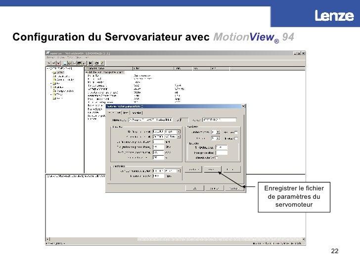 Configuration du Servovariateur avec   Motion View ®   94 Enregistrer le fichier de paramètres du servomoteur