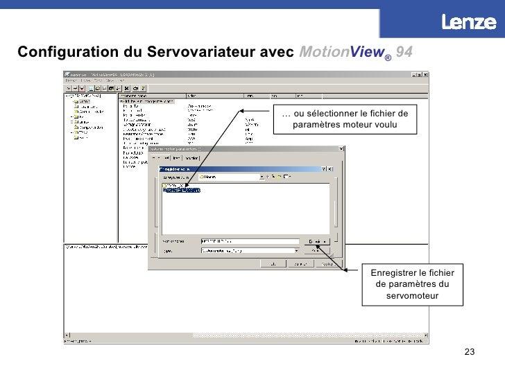 Configuration du Servovariateur avec   Motion View ®   94 Créer un nouveau fichier de paramètres moteur… …  ou sélectionne...