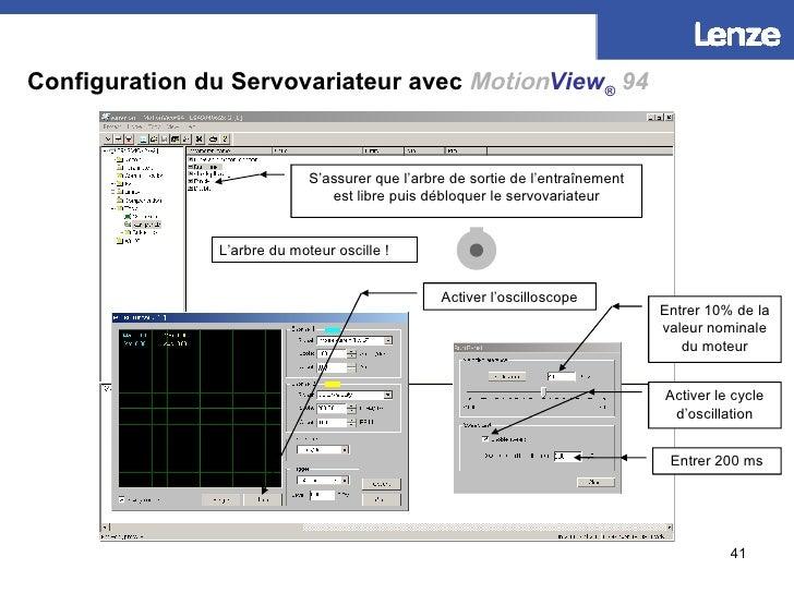 Configuration du Servovariateur avec   Motion View ®   94 Entrer 10% de la valeur nominale du moteur Activer le cycle d'os...