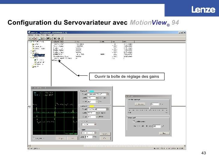 Configuration du Servovariateur avec   Motion View ®   94 Ouvrir la boîte de réglage des gains