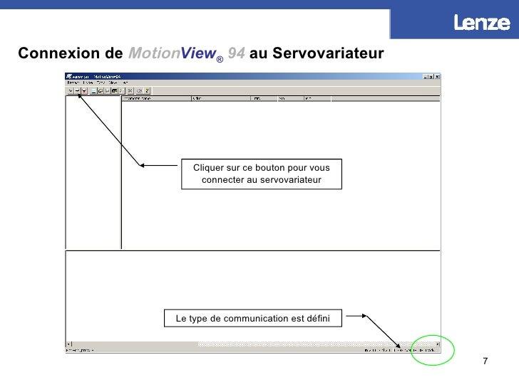 Connexion de   Motion View ®   94  au Servovariateur Cliquer sur ce bouton pour vous connecter au servovariateur Le type d...