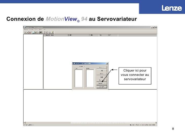 Connexion de   Motion View ®   94  au Servovariateur Cliquer ici pour vous connecter au servovariateur