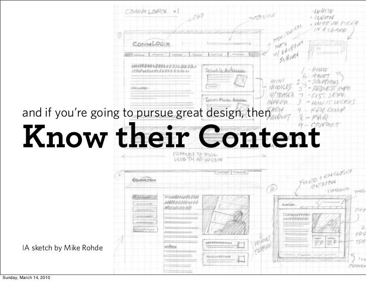 and if you're going to pursue great design, then           Know their Content            IA sketch by Mike Rohde   Sunday,...