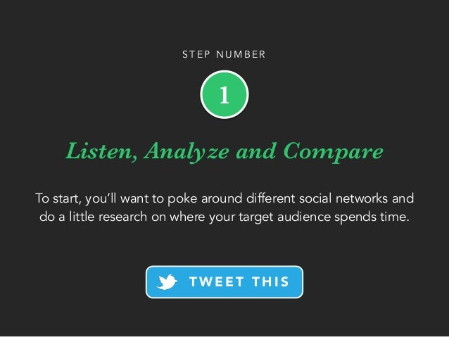 Listen, Analyze and Compare To start, you'll want to poke around different social networks and do a little research on whe...