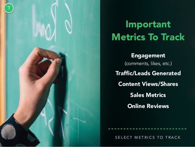 7 Important Metrics To Track Engagement (comments, likes, etc.) Traffic/Leads Generated Content Views/Shares Sales Metrics ...