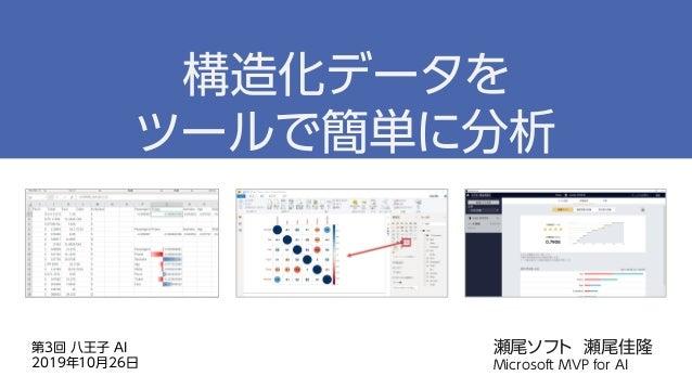 瀬尾ソフト 瀬尾佳隆 Microsoft MVP for AI 構造化データを ツールで簡単に分析 第3回 八王子 AI 2019年10月26日