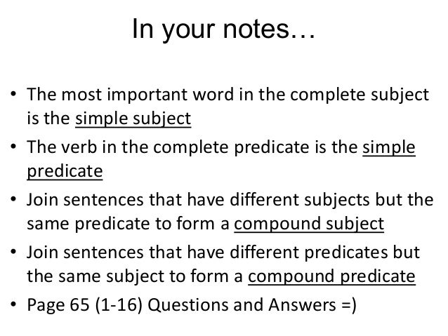 Simple and Compound Subjects and Predicates Unit 1 – Compound Subject Worksheet
