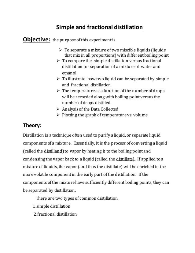 ffractional distillation lab report Simple distillation lab report essay sample the whole doc is available only for registered users open doc pages: word count: 1246  there are four kind of distillation: simple distillation, fractional distillation, vacuum distillation and steam distillation simple distillation is the process wherein the pure liquid is separated from the.