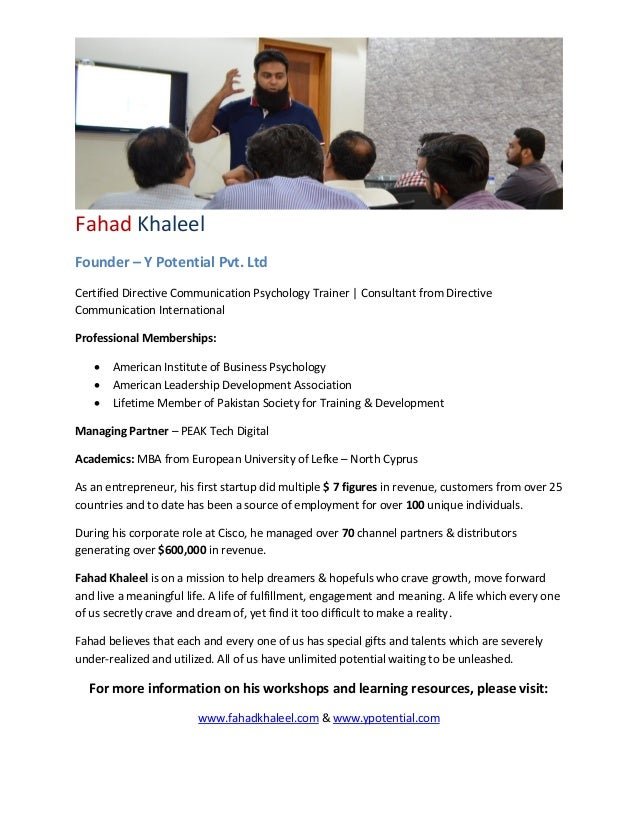 Fahad Khaleel Founder – Y Potential Pvt. Ltd Certified Directive Communication Psychology Trainer | Consultant from Direct...