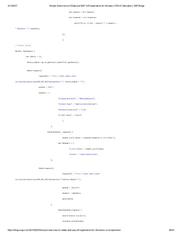 Simple exercise on o data and sap ui5 application for the