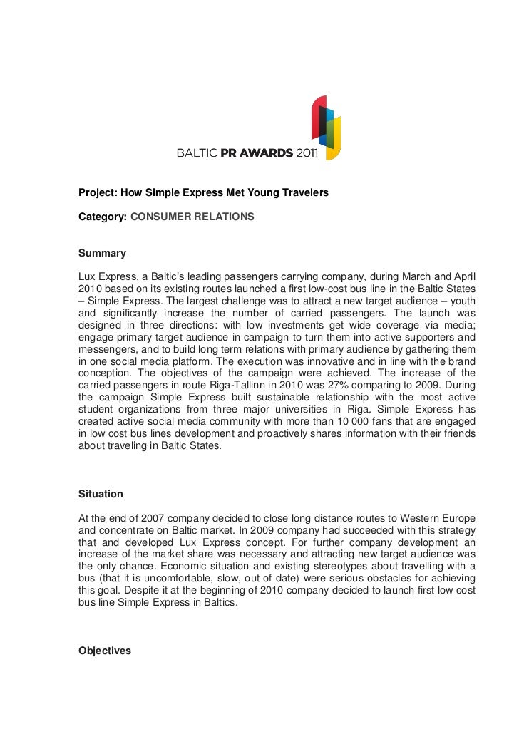 Project: How Simple Express Met Young TravelersCategory: CONSUMER RELATIONSSummaryLux Express, a Baltic's leading passenge...