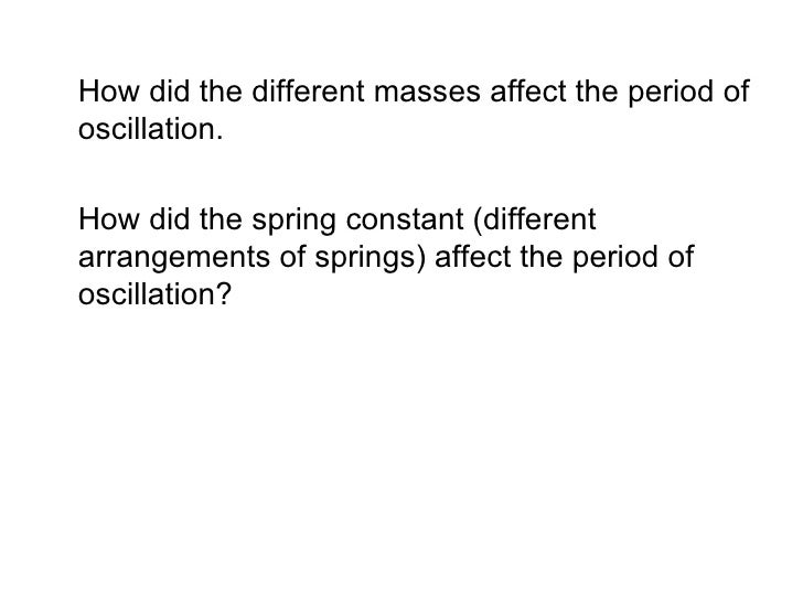 a research on the spring constant by using the simple harmonic motion of the spring mass system Physics 211 experiment #12 simple harmonic motion experiment  the  dependence of oscillation period on the mass applied and on the spring constant  will be  determine the spring constant k using data from the oscillating masses.