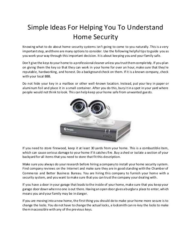 Simple Ideas For Helping You To Understand Home Security