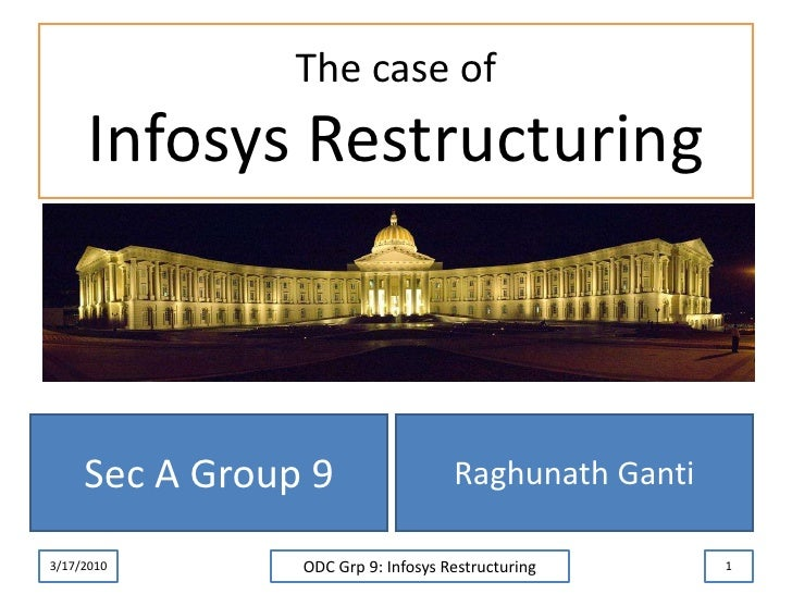 The case ofInfosys Restructuring<br />Raghunath Ganti<br />3/17/2010<br />ODC Grp 9: Infosys Restructuring<br />1<br />Sec...