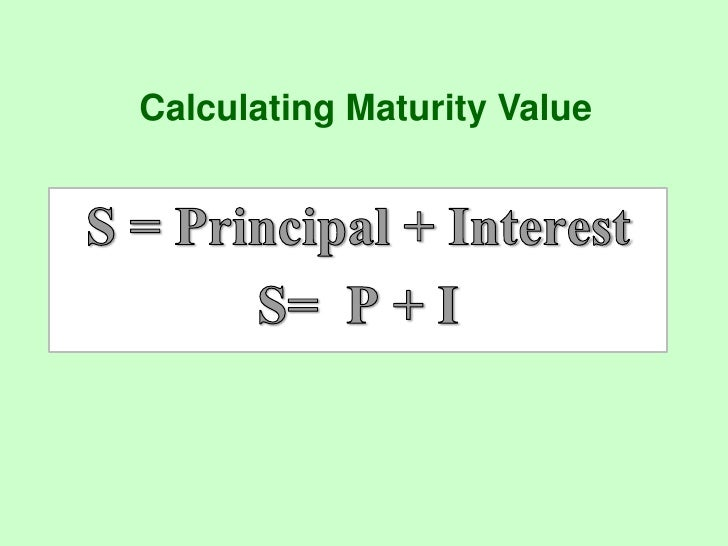 Calculate rd maturity value