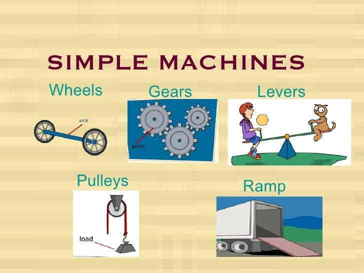 SIMPLE MACHINES Wheels Gears Levers Pulleys Ramp