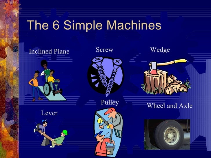 The 6 Simple Machines Lever Pulley Wheel and Axle Wedge Screw Inclined Plane