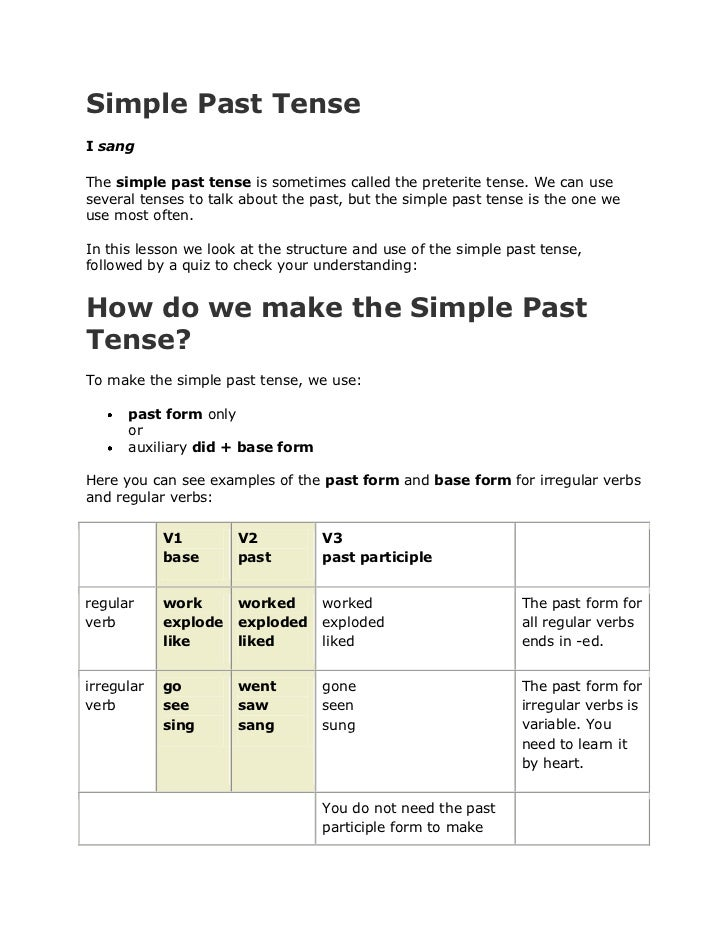 Simple Past TenseI sangThe simple past tense is sometimes called the preterite tense. We can useseveral tenses to talk abo...