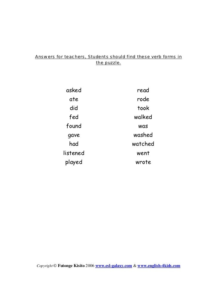 Simple past tense forms of the verbs below