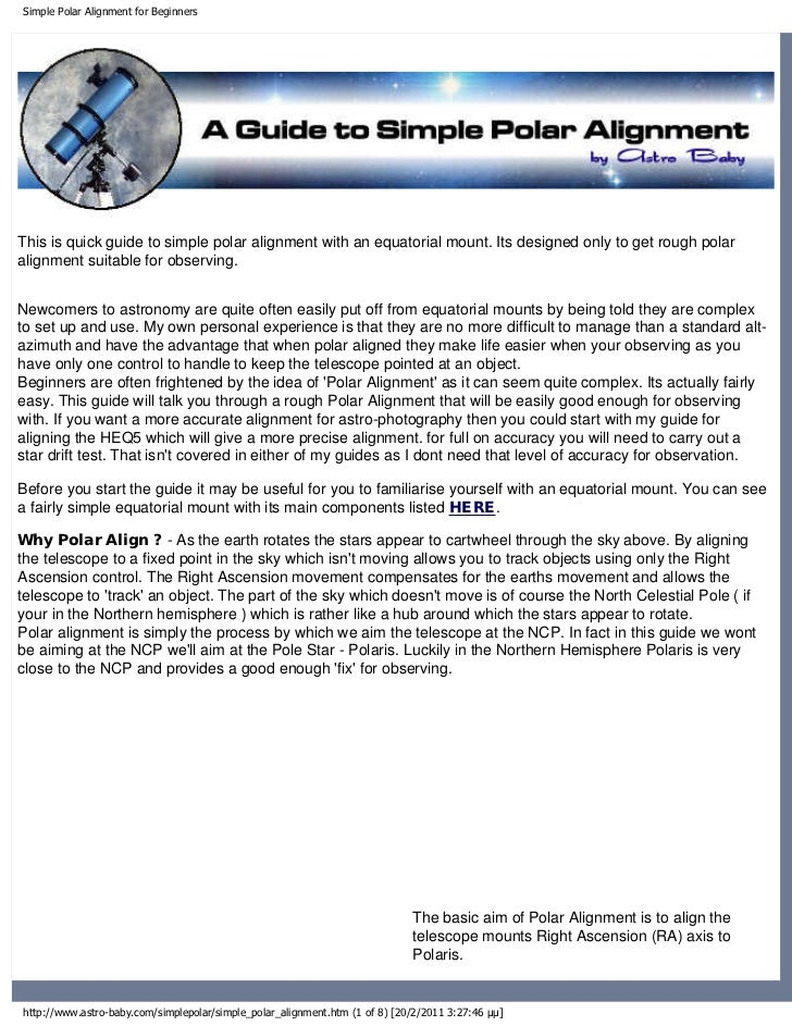Simple Polar Alignment for BeginnersThis is quick guide to simple polar alignment with an equatorial mount. Its designed o...