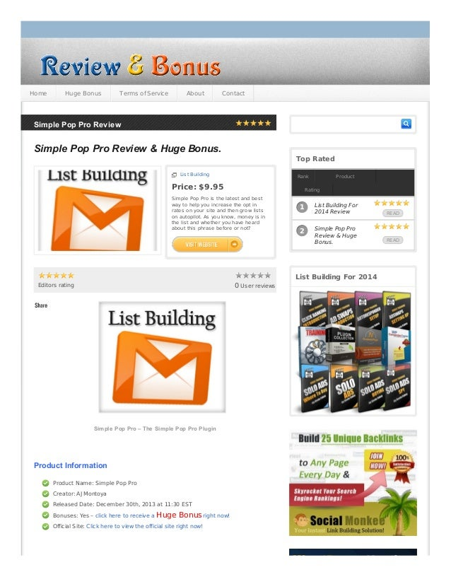 Home  Huge Bonus  Terms of Service  About  Contact  Simple Pop Pro Review  Simple Pop Pro Review & Huge Bonus. Top Rated L...