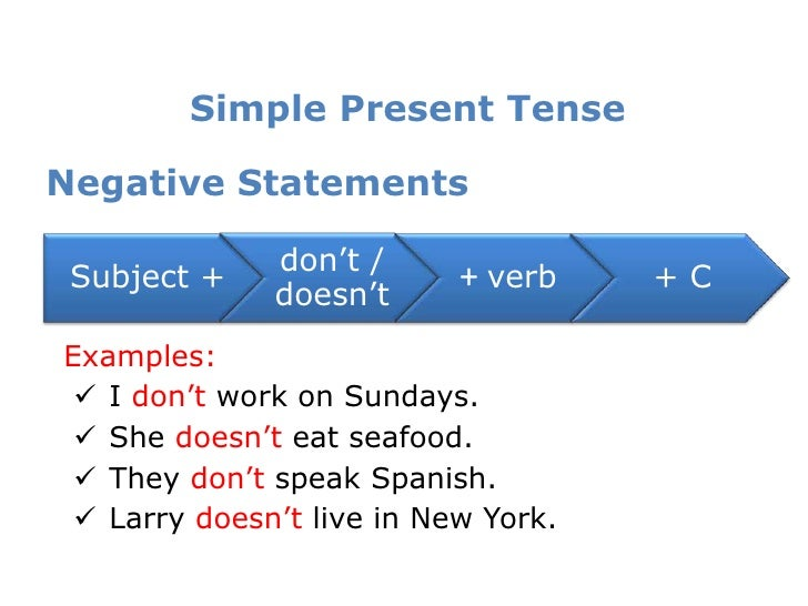simple present tensenegative statements