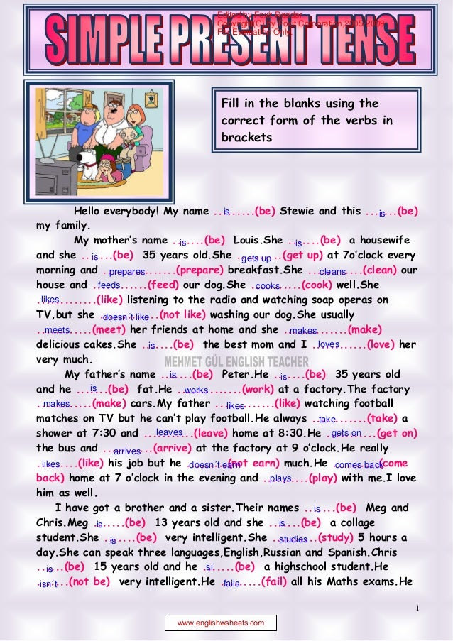 Simple present tense reading 1