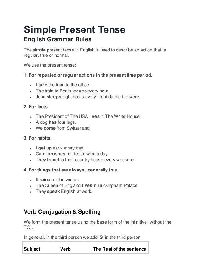 Simple present tense rules exercises f2ab40145c998