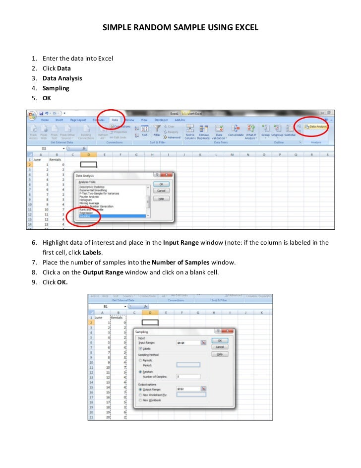simple random sample using excel1 enter the data into excel2 click data3