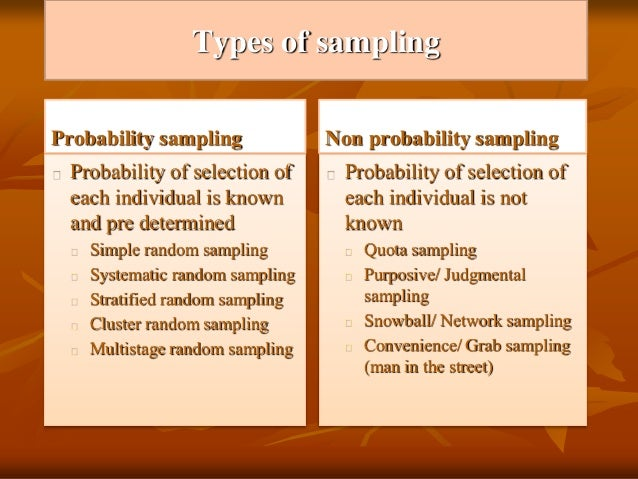 probability and non probability sampling cultural studies essay Data collection research methodology a brief and as cultural studies they are divided into two large categories probability and non- probability sampling.