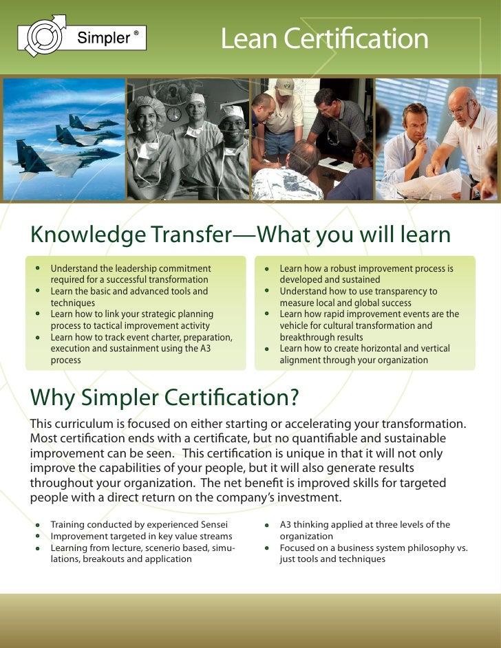 Simpler Lean Certification Brochure