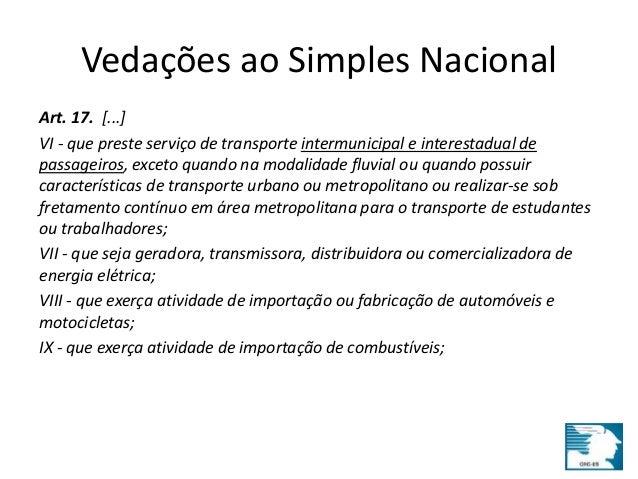 Vedações ao Simples Nacional  Art. 17. [...]  VI - que preste serviço de transporte intermunicipal e interestadual de  pas...