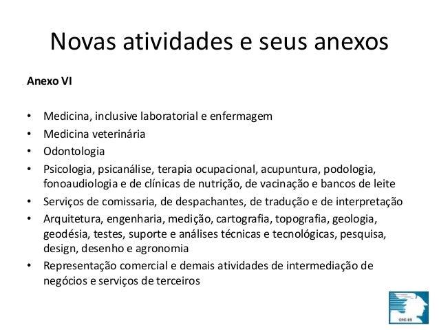 Novas atividades e seus anexos  Anexo VI  • Medicina, inclusive laboratorial e enfermagem  • Medicina veterinária  • Odont...
