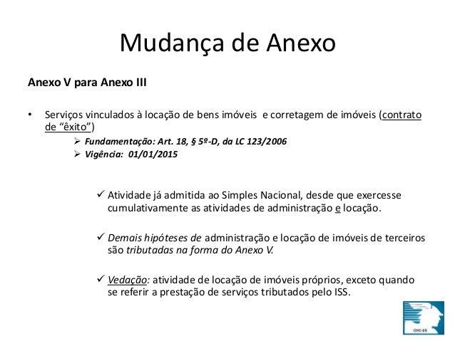 Mudança de Anexo  Anexo V para Anexo III  • Serviços vinculados à locação de bens imóveis e corretagem de imóveis (contrat...